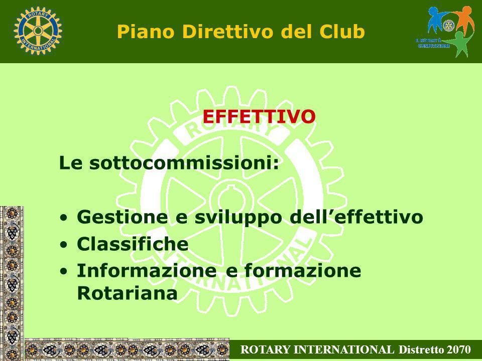 ROTARY INTERNATIONAL Distretto 2070 EFFETTIVO Le sottocommissioni: Gestione e sviluppo delleffettivo Classifiche Informazione e formazione Rotariana P