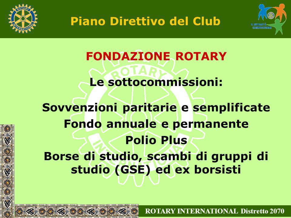ROTARY INTERNATIONAL Distretto 2070 Piano Direttivo del Club FONDAZIONE ROTARY Le sottocommissioni: Sovvenzioni paritarie e semplificate Fondo annuale