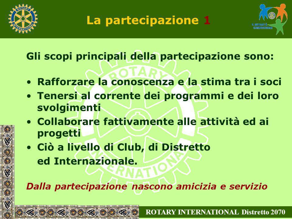 ROTARY INTERNATIONAL Distretto 2070 La partecipazione 1 Gli scopi principali della partecipazione sono: Rafforzare la conoscenza e la stima tra i soci