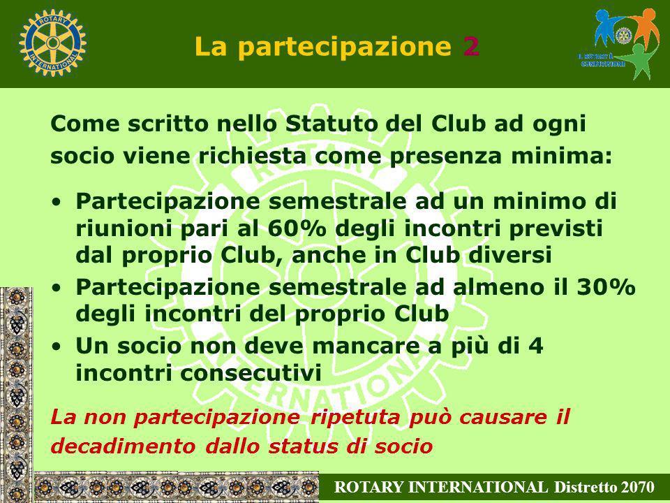 ROTARY INTERNATIONAL Distretto 2070 La partecipazione 2 Come scritto nello Statuto del Club ad ogni socio viene richiesta come presenza minima: Partec