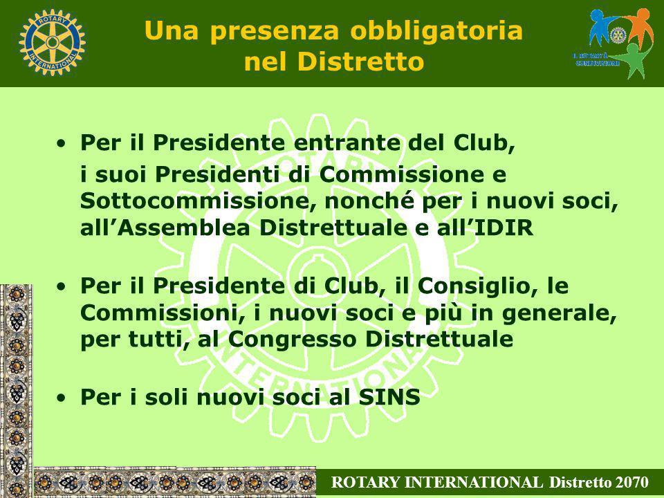 ROTARY INTERNATIONAL Distretto 2070 Per il Presidente entrante del Club, i suoi Presidenti di Commissione e Sottocommissione, nonché per i nuovi soci,