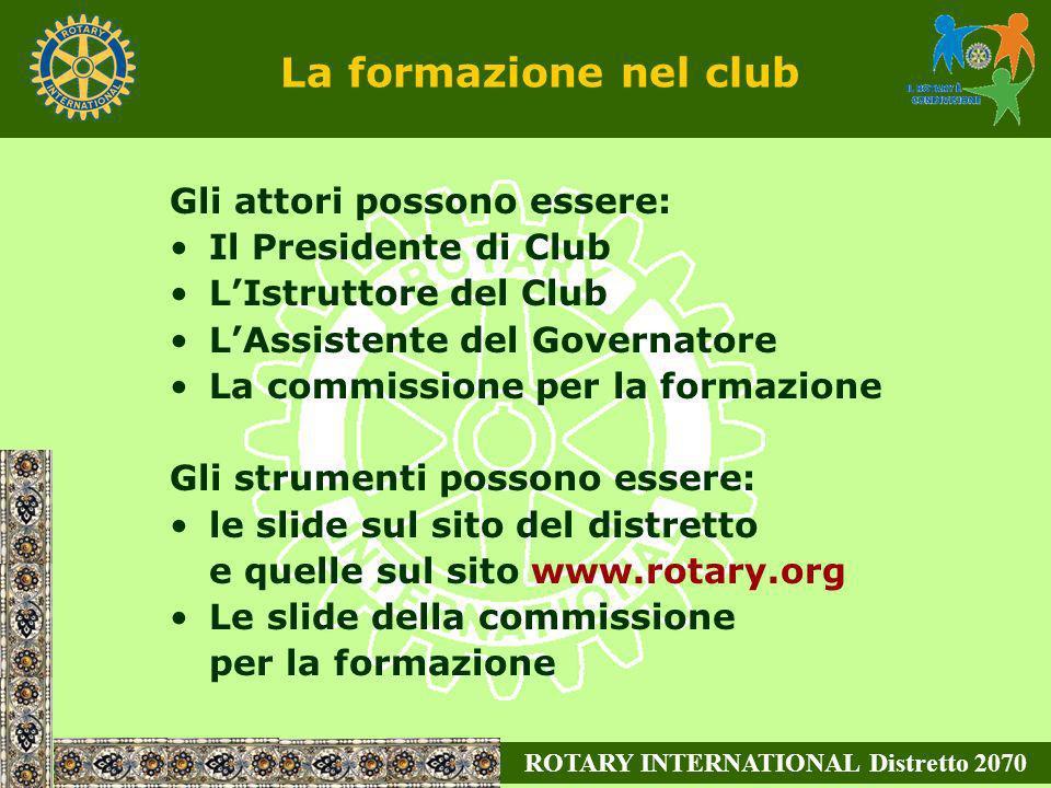ROTARY INTERNATIONAL Distretto 2070 Gli attori possono essere: Il Presidente di Club LIstruttore del Club LAssistente del Governatore La commissione p