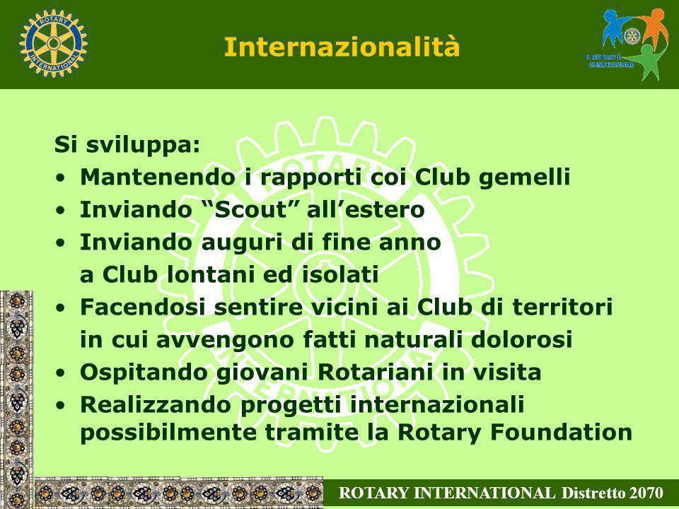 ROTARY INTERNATIONAL Distretto 2070 Internazionalità Si sviluppa: Mantenendo i rapporti coi Club gemelli Inviando Scout allestero Inviando auguri di f