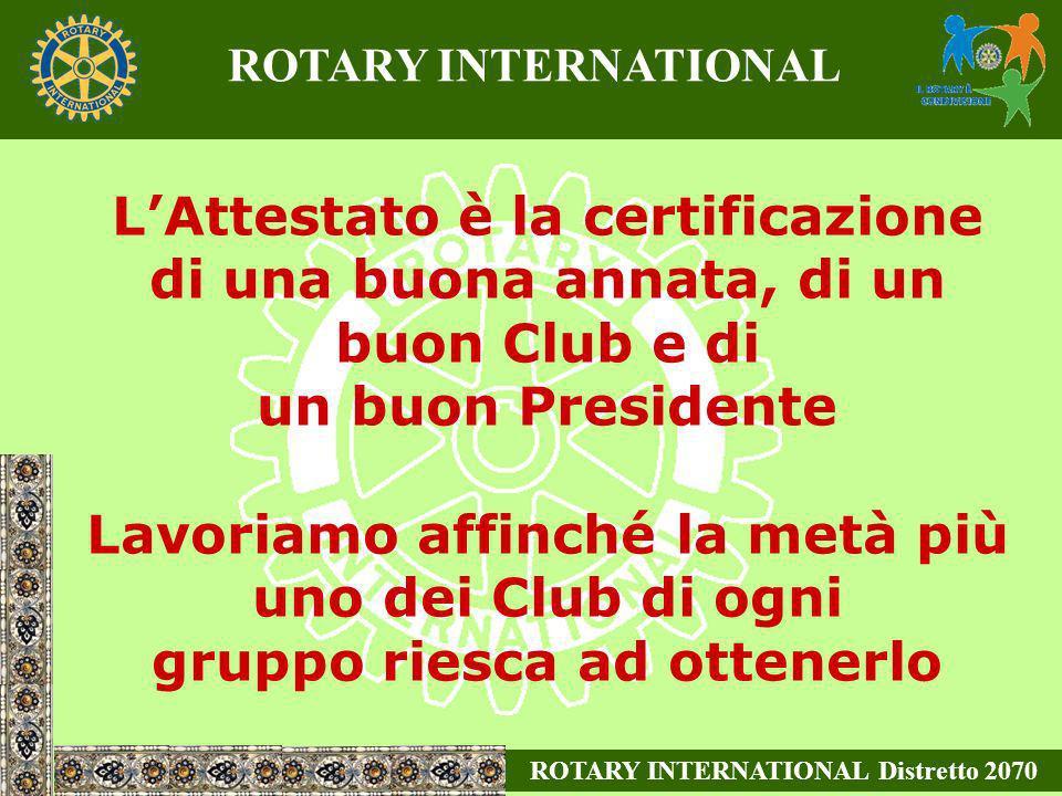 LAttestato è la certificazione di una buona annata, di un buon Club e di un buon Presidente Lavoriamo affinché la metà più uno dei Club di ogni gruppo