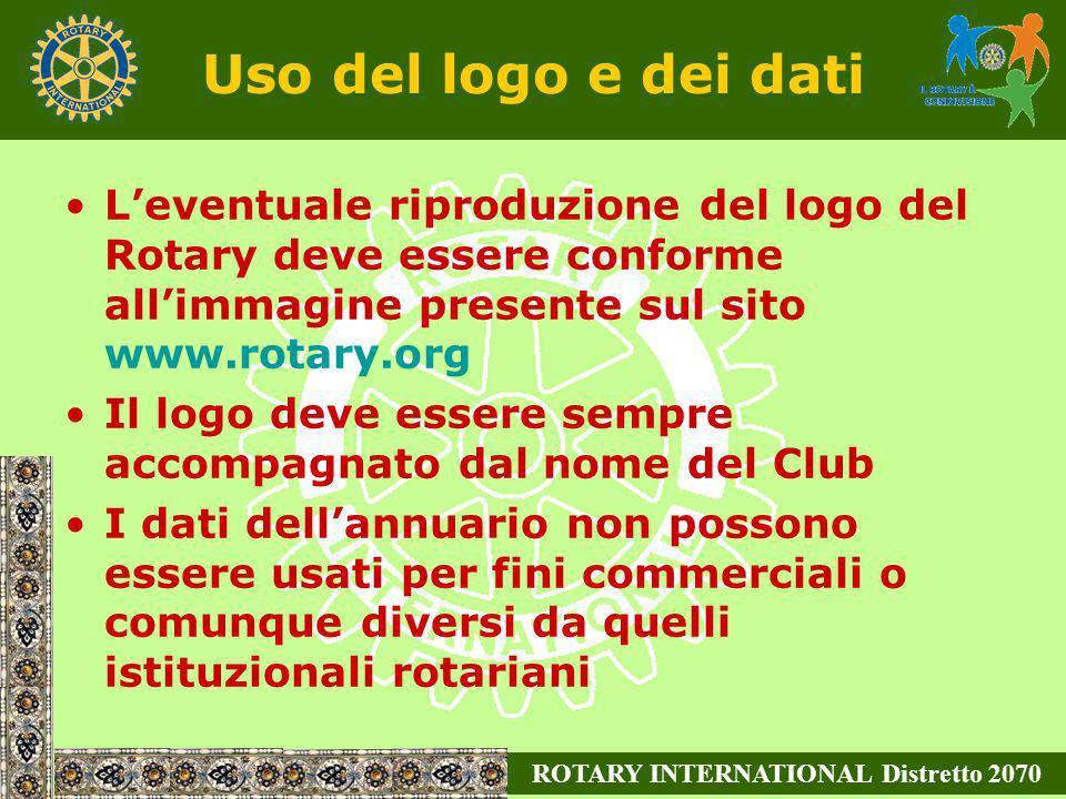 Uso del logo e dei dati Leventuale riproduzione del logo del Rotary deve essere conforme allimmagine presente sul sito www.rotary.org Il logo deve ess