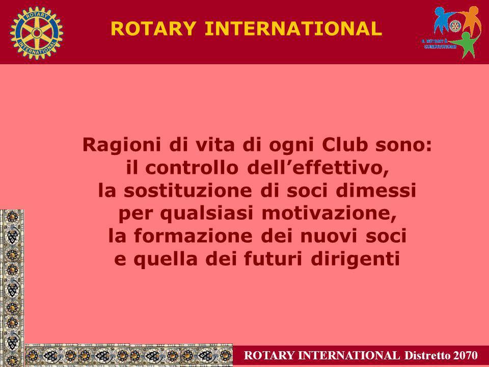 ROTARY INTERNATIONAL Distretto 2070 ROTARY INTERNATIONAL Ragioni di vita di ogni Club sono: il controllo delleffettivo, la sostituzione di soci dimess