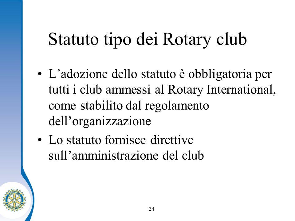 Distretto XXXX Seminario distruzione dei presidenti eletti 24 Statuto tipo dei Rotary club Ladozione dello statuto è obbligatoria per tutti i club ammessi al Rotary International, come stabilito dal regolamento dellorganizzazione Lo statuto fornisce direttive sullamministrazione del club