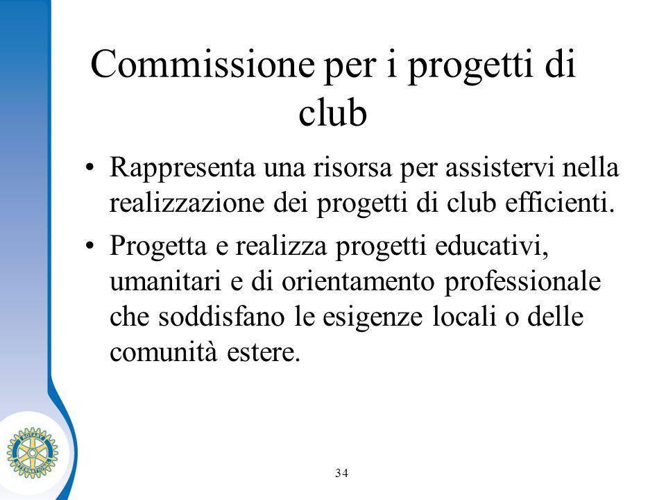 Distretto XXXX Seminario distruzione dei presidenti eletti 34 Commissione per i progetti di club Rappresenta una risorsa per assistervi nella realizzazione dei progetti di club efficienti.