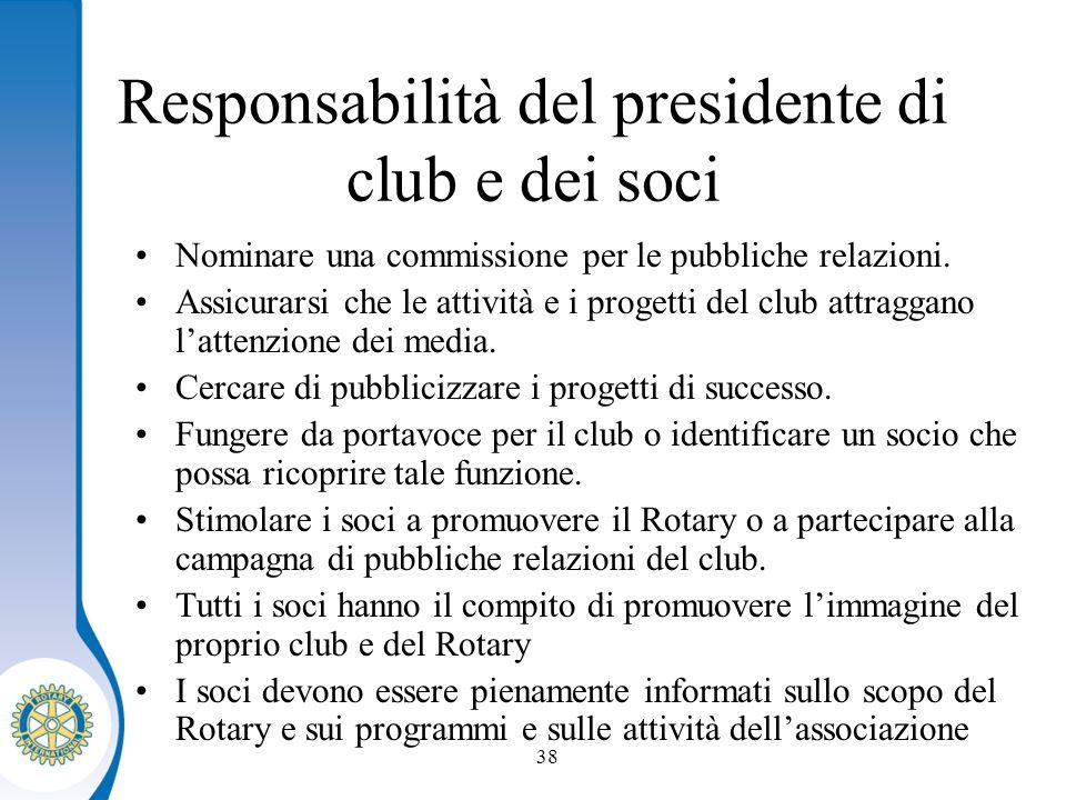 Distretto XXXX Seminario distruzione dei presidenti eletti 38 Responsabilità del presidente di club e dei soci Nominare una commissione per le pubbliche relazioni.
