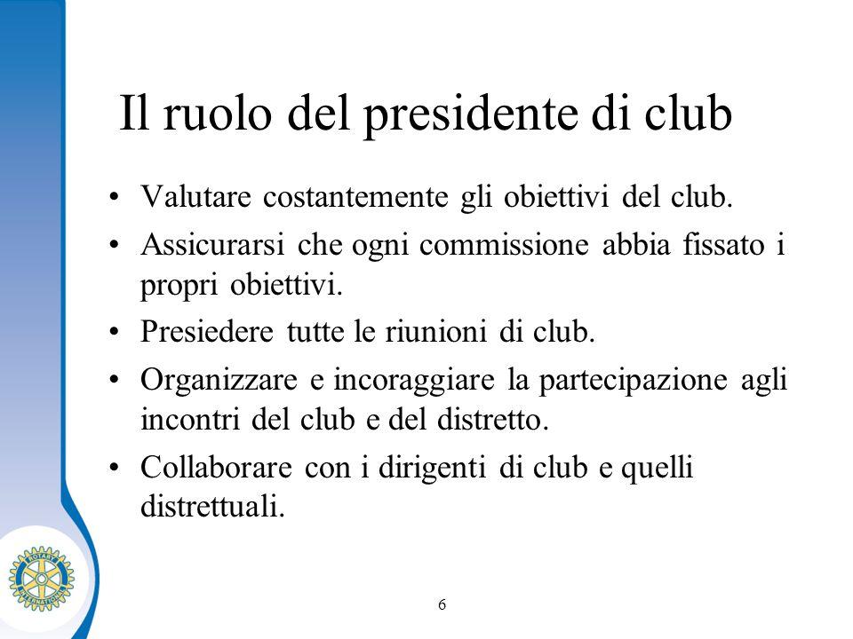 Distretto XXXX Seminario distruzione dei presidenti eletti 6 Il ruolo del presidente di club Valutare costantemente gli obiettivi del club.