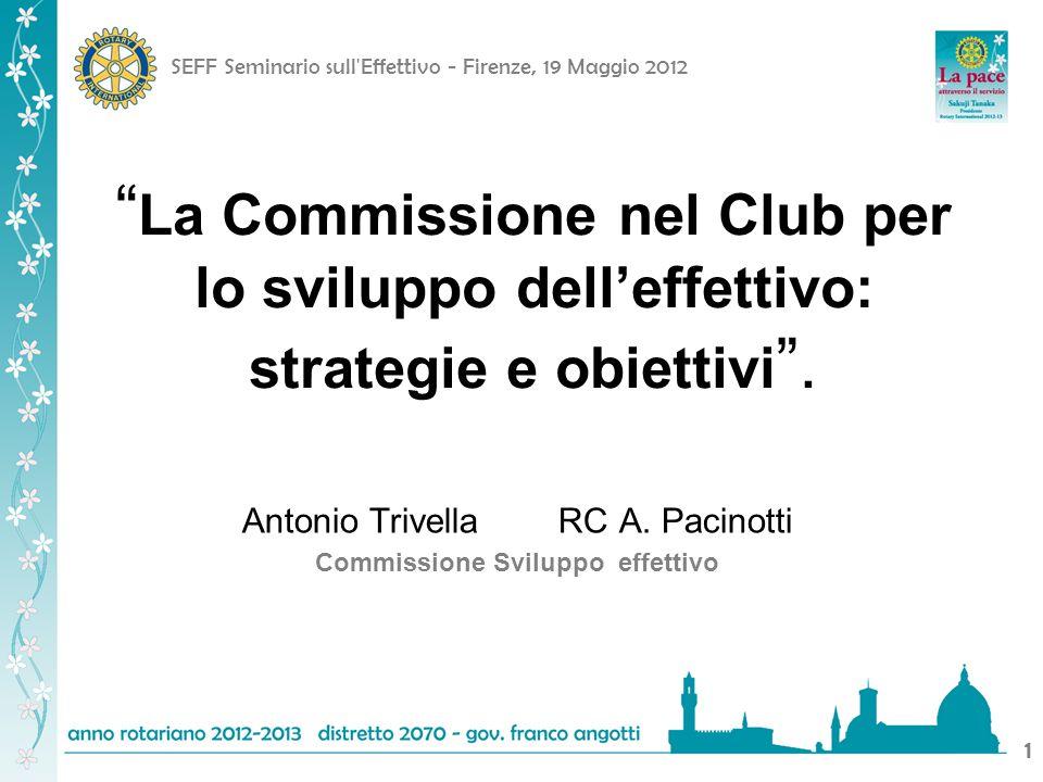 SEFF Seminario sull Effettivo - Firenze, 19 Maggio 2012 22 Commissione per leffettivo del club: Obiettivo Assicurare al club lo sviluppo delleffettivo affinché, con efficienza ed efficacia, promuova le attività di service nellinteresse delle collettività locali e internazionali.