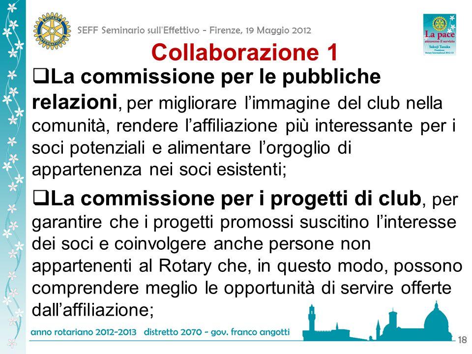 SEFF Seminario sull'Effettivo - Firenze, 19 Maggio 2012 18 Collaborazione 1 La commissione per le pubbliche relazioni, per migliorare limmagine del cl