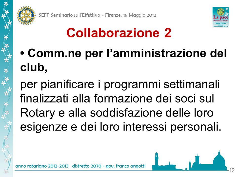 SEFF Seminario sull'Effettivo - Firenze, 19 Maggio 2012 19 Collaborazione 2 Comm.ne per lamministrazione del club, per pianificare i programmi settima