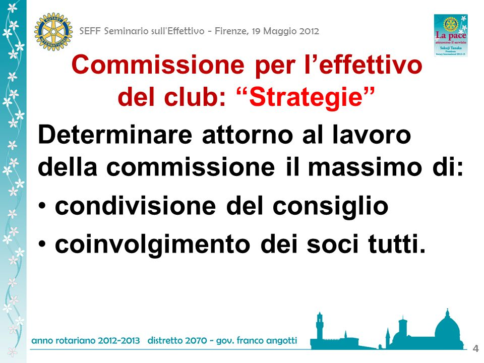 SEFF Seminario sull Effettivo - Firenze, 19 Maggio 2012 44 Commissione per leffettivo del club: Strategie Determinare attorno al lavoro della commissione il massimo di: condivisione del consiglio coinvolgimento dei soci tutti.