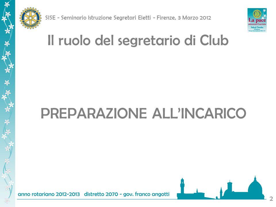 SISE - Seminario Istruzione Segretari Eletti - Firenze, 3 Marzo 2012 2 Il ruolo del segretario di Club PREPARAZIONE ALLINCARICO