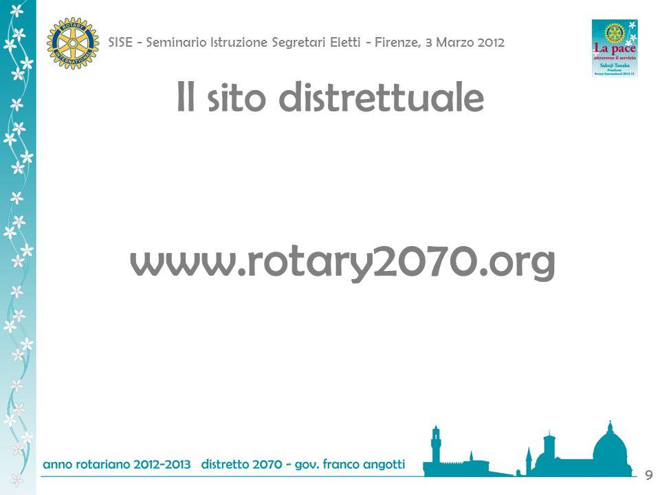 SISE - Seminario Istruzione Segretari Eletti - Firenze, 3 Marzo 2012 9 Il sito distrettuale www.rotary2070.org