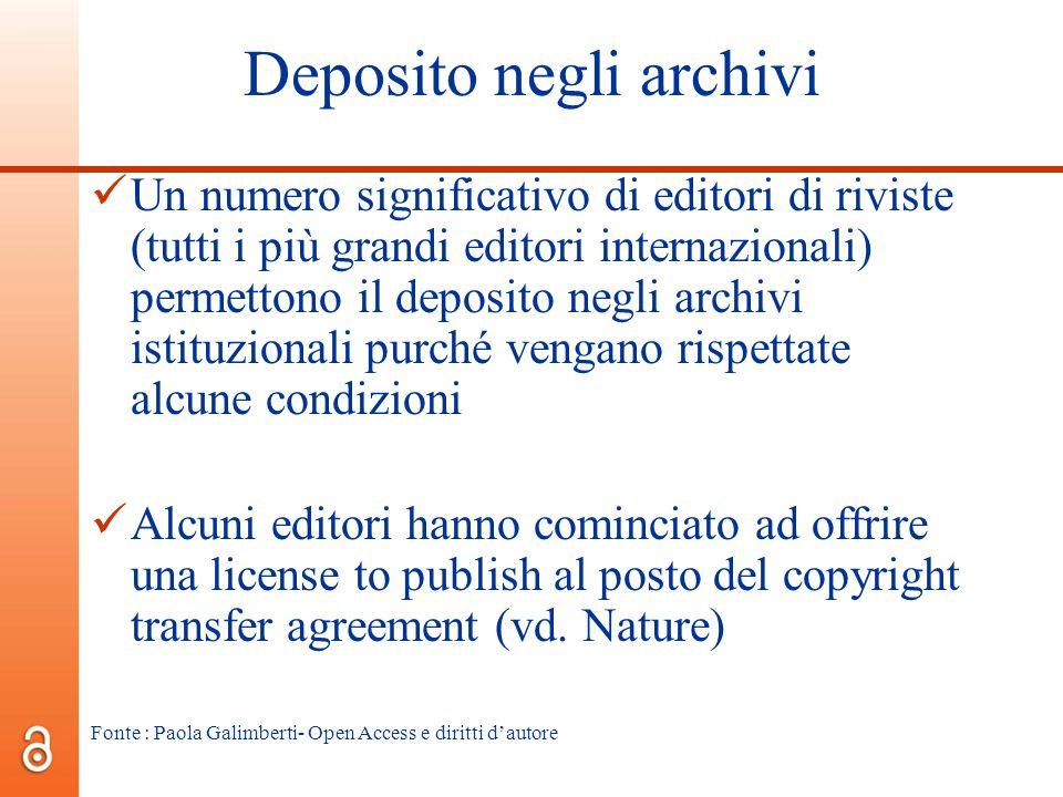 Deposito negli archivi Un numero significativo di editori di riviste (tutti i più grandi editori internazionali) permettono il deposito negli archivi