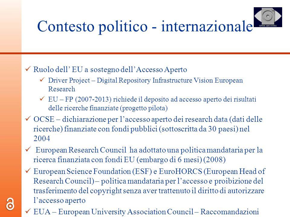Contesto politico - internazionale Ruolo dell EU a sostegno dellAccesso Aperto Driver Project – Digital Repository Infrastructure Vision European Rese