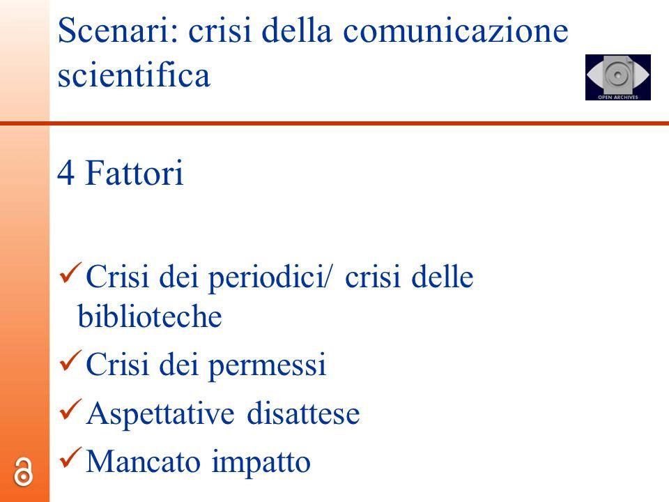 Scenari: crisi della comunicazione scientifica 4 Fattori Crisi dei periodici/ crisi delle biblioteche Crisi dei permessi Aspettative disattese Mancato