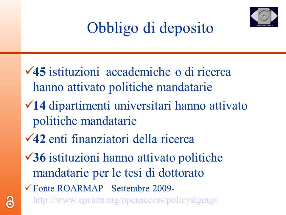 Obbligo di deposito 45 istituzioni accademiche o di ricerca hanno attivato politiche mandatarie 14 dipartimenti universitari hanno attivato politiche