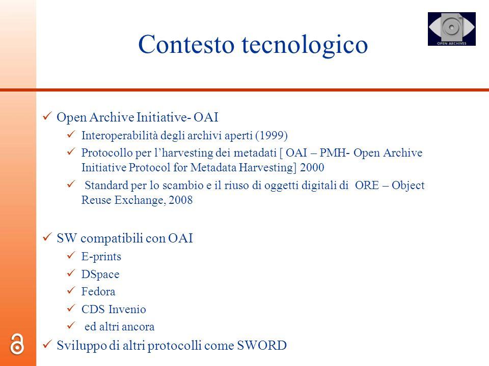 Contesto tecnologico Open Archive Initiative- OAI Interoperabilità degli archivi aperti (1999) Protocollo per lharvesting dei metadati [ OAI – PMH- Op