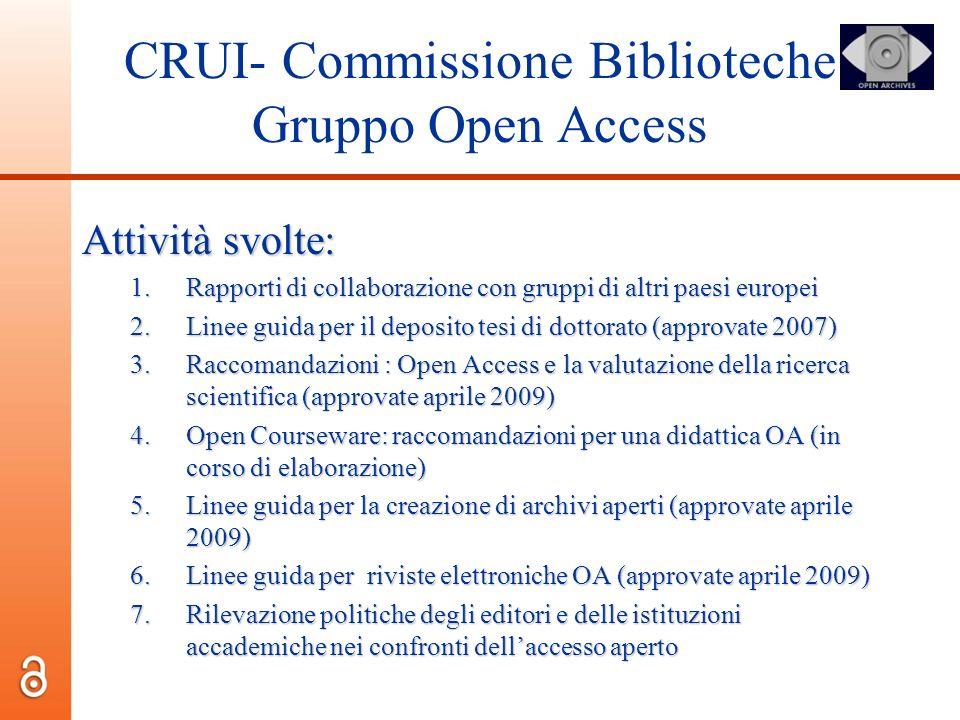 CRUI- Commissione Biblioteche Gruppo Open Access Attività svolte: 1.Rapporti di collaborazione con gruppi di altri paesi europei 2.Linee guida per il