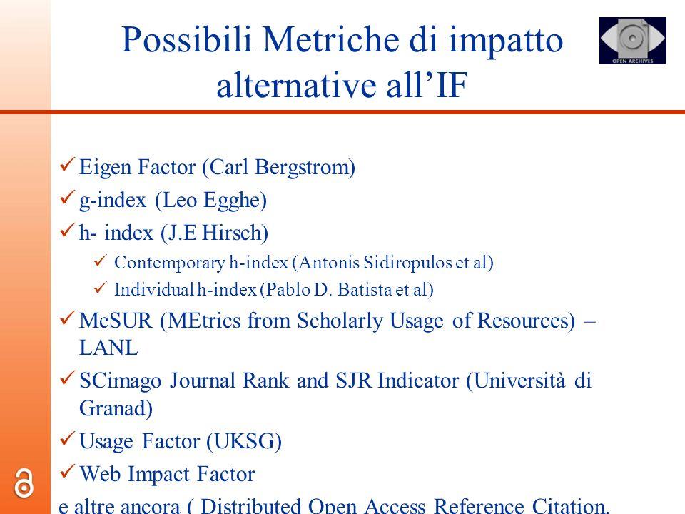 Possibili Metriche di impatto alternative allIF Eigen Factor (Carl Bergstrom) g-index (Leo Egghe) h- index (J.E Hirsch) Contemporary h-index (Antonis