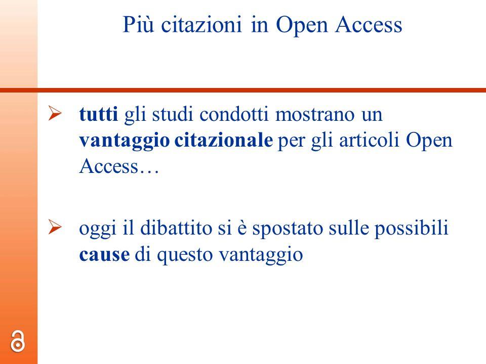 Più citazioni in Open Access tutti gli studi condotti mostrano un vantaggio citazionale per gli articoli Open Access… oggi il dibattito si è spostato