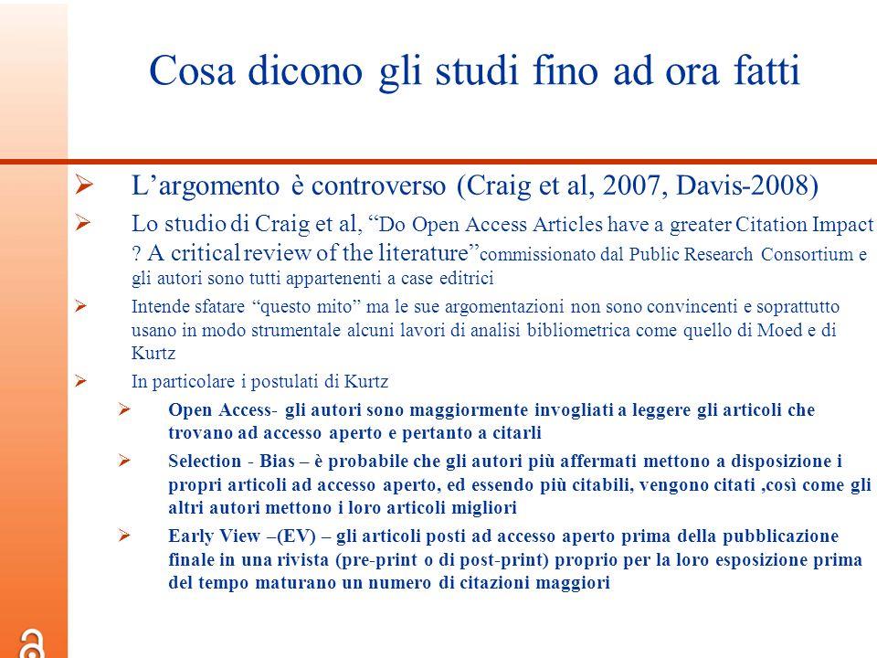 Cosa dicono gli studi fino ad ora fatti Largomento è controverso (Craig et al, 2007, Davis-2008) Lo studio di Craig et al, Do Open Access Articles hav