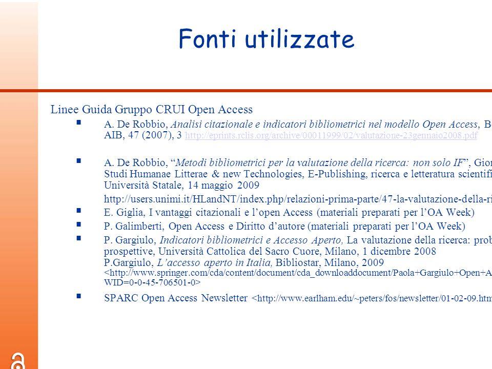 Fonti utilizzate Linee Guida Gruppo CRUI Open Access A. De Robbio, Analisi citazionale e indicatori bibliometrici nel modello Open Access, Bollettino