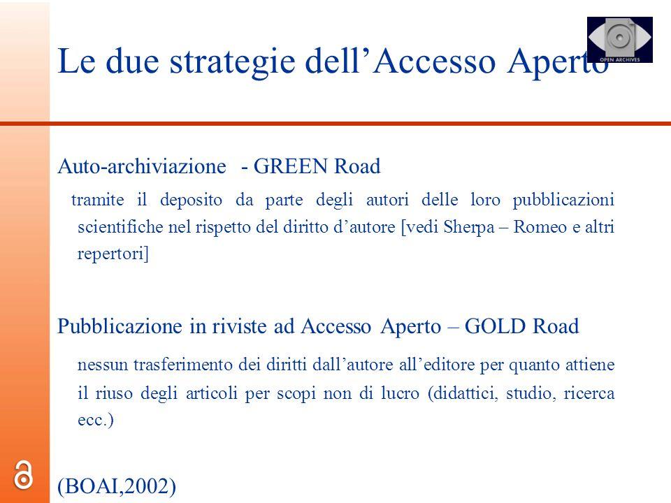 Le due strategie dellAccesso Aperto Auto-archiviazione - GREEN Road tramite il deposito da parte degli autori delle loro pubblicazioni scientifiche ne