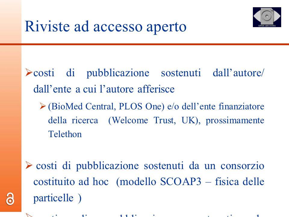 Riviste ad accesso aperto costi di pubblicazione sostenuti dallautore/ dallente a cui lautore afferisce (BioMed Central, PLOS One) e/o dellente finanz