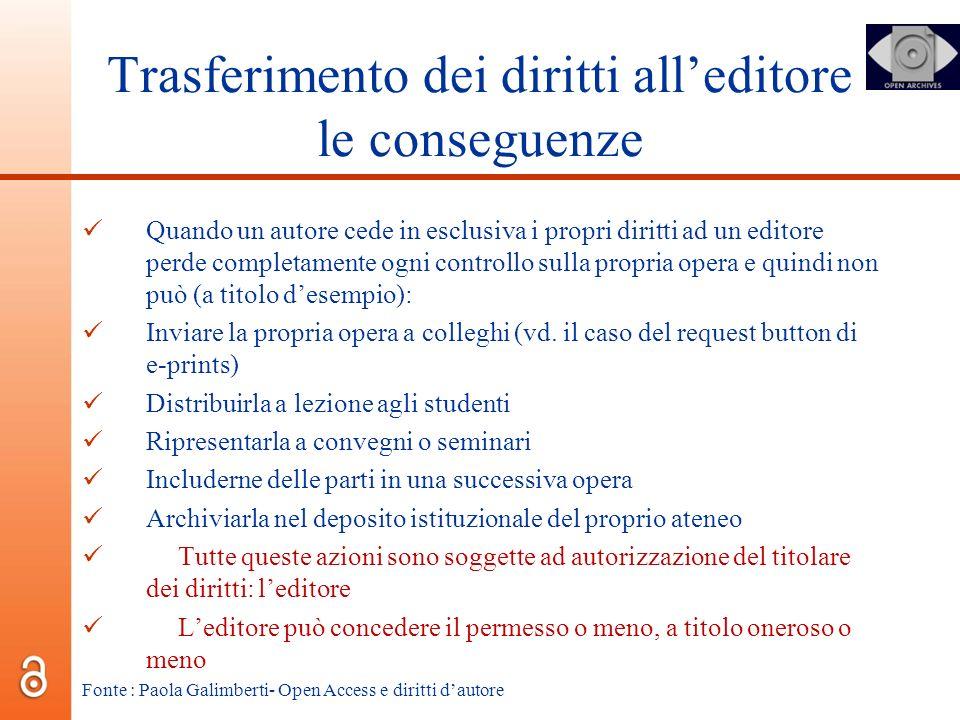 Trasferimento dei diritti alleditore le conseguenze Quando un autore cede in esclusiva i propri diritti ad un editore perde completamente ogni control