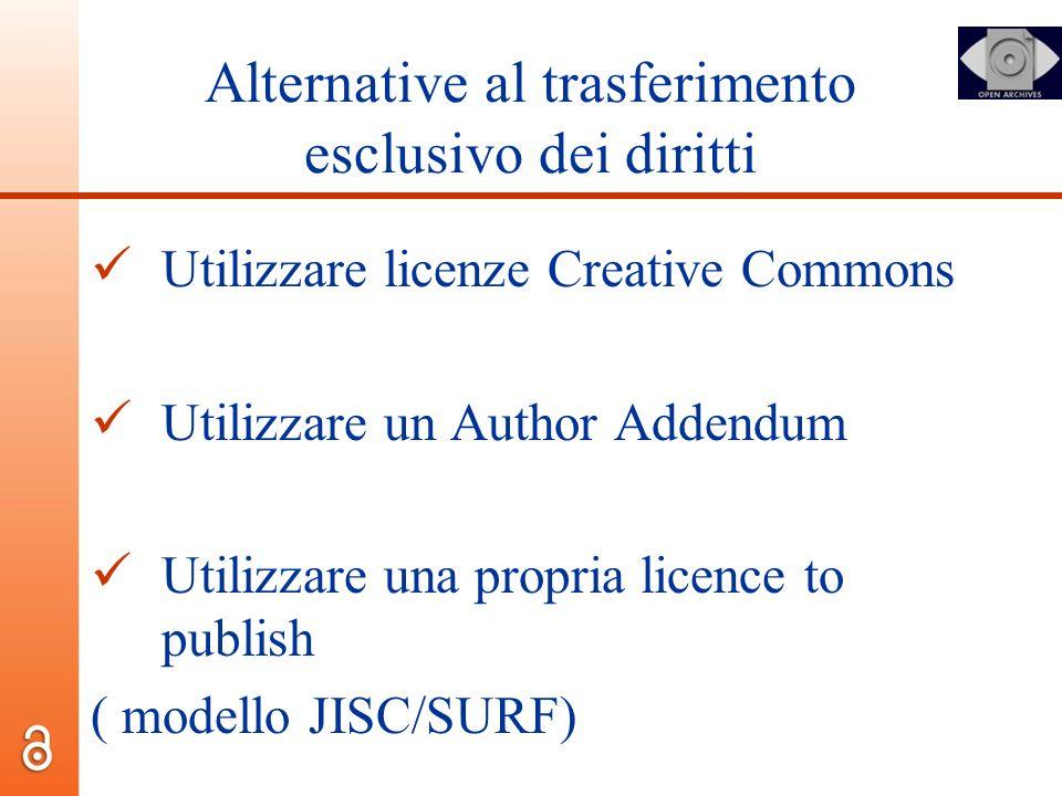 Alternative al trasferimento esclusivo dei diritti Utilizzare licenze Creative Commons Utilizzare un Author Addendum Utilizzare una propria licence to