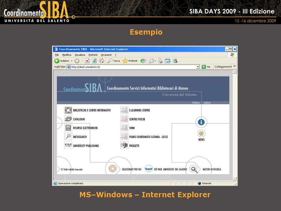 Esempio MS–Windows – Internet Explorer