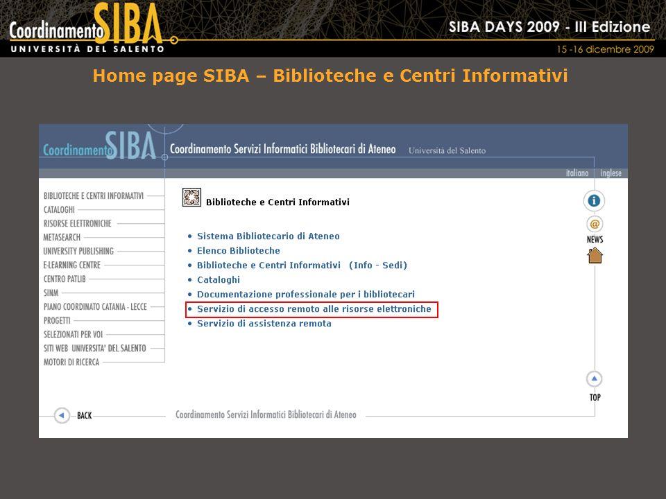 Home page SIBA – Biblioteche e Centri Informativi