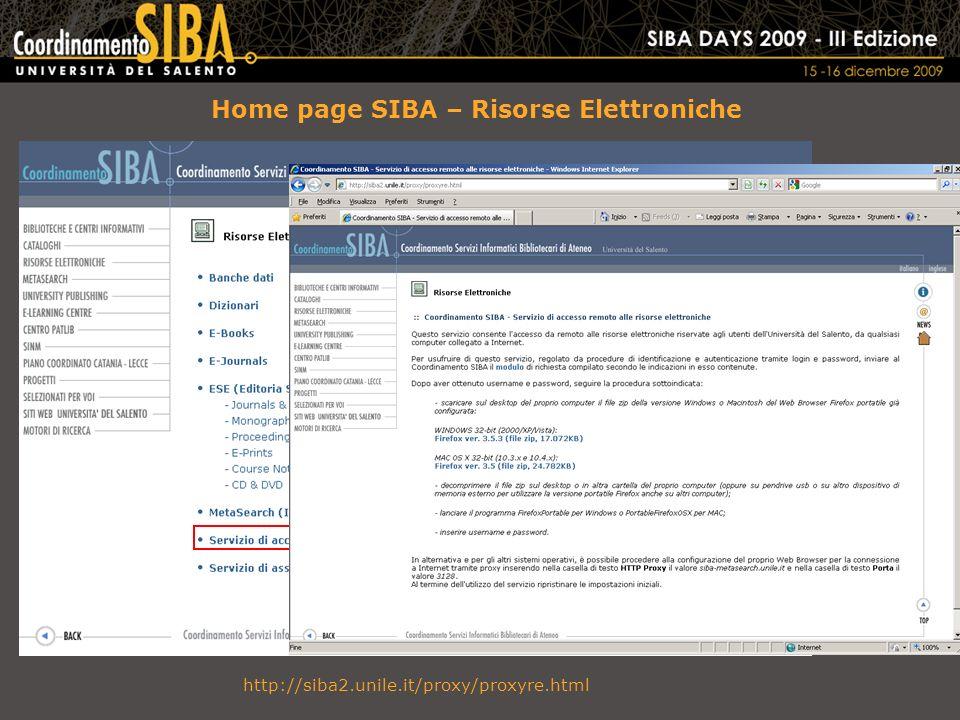 Home page SIBA – Risorse Elettroniche http://siba2.unile.it/proxy/proxyre.html