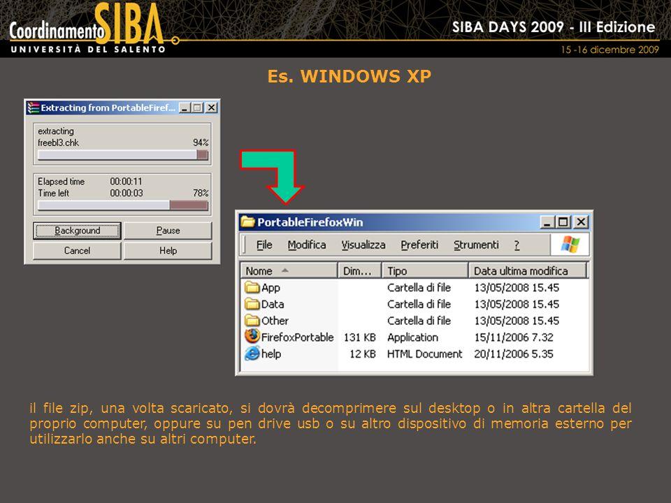 Es. WINDOWS XP il file zip, una volta scaricato, si dovrà decomprimere sul desktop o in altra cartella del proprio computer, oppure su pen drive usb o