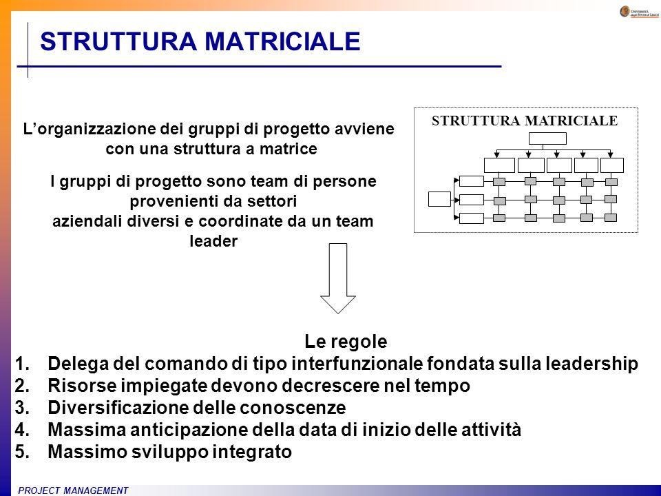 PROJECT MANAGEMENT STRUTTURA MATRICIALE I gruppi di progetto sono team di persone provenienti da settori aziendali diversi e coordinate da un team lea