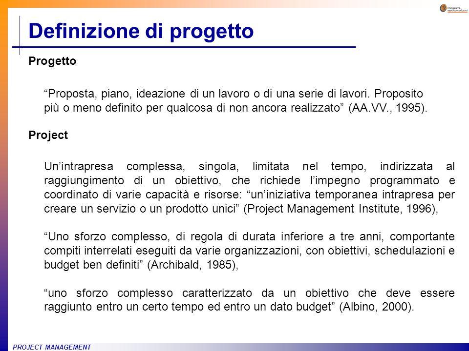 PROJECT MANAGEMENT Unintrapresa complessa, singola, limitata nel tempo, indirizzata al raggiungimento di un obiettivo, che richiede limpegno programma