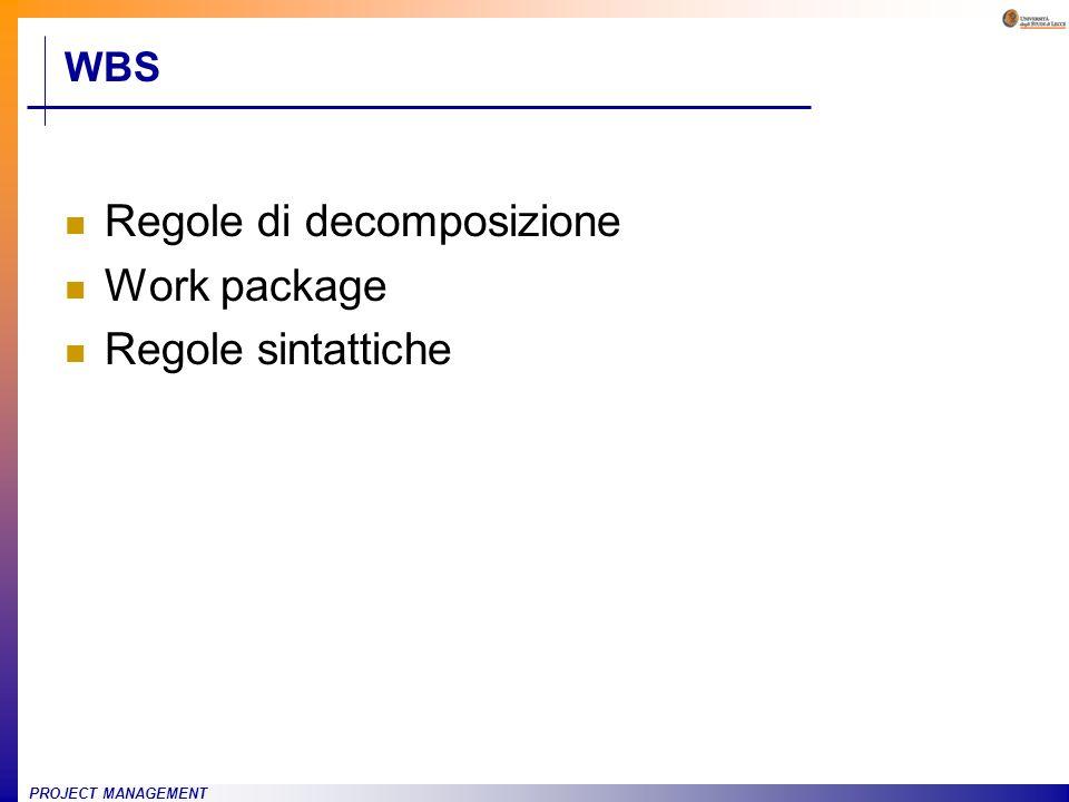PROJECT MANAGEMENT WBS Regole di decomposizione Work package Regole sintattiche