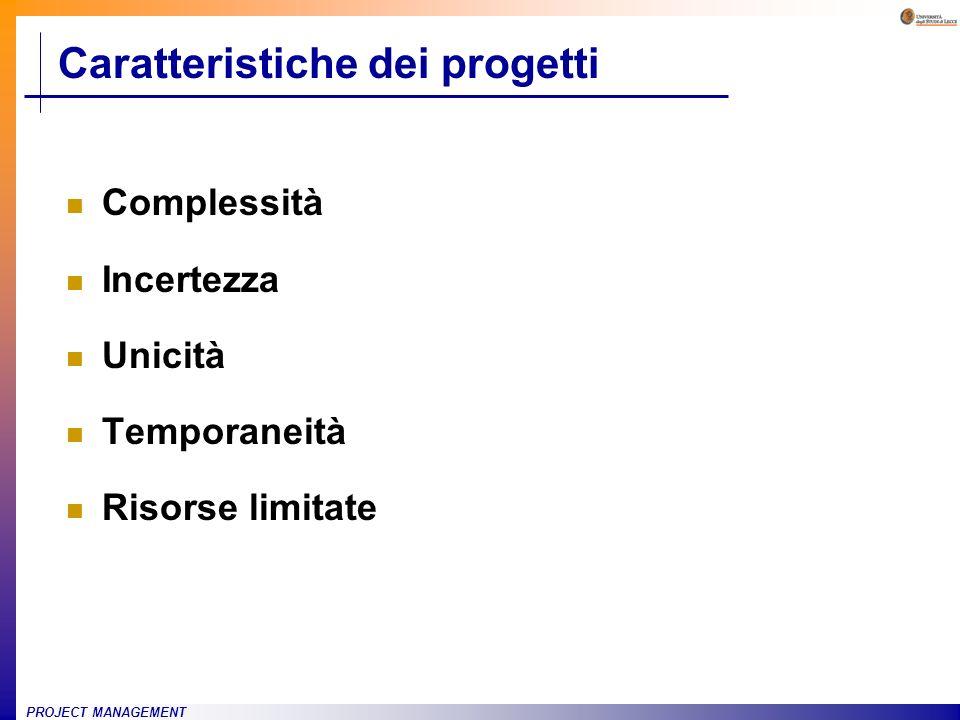 PROJECT MANAGEMENT Caratteristiche dei progetti Complessità Incertezza Unicità Temporaneità Risorse limitate