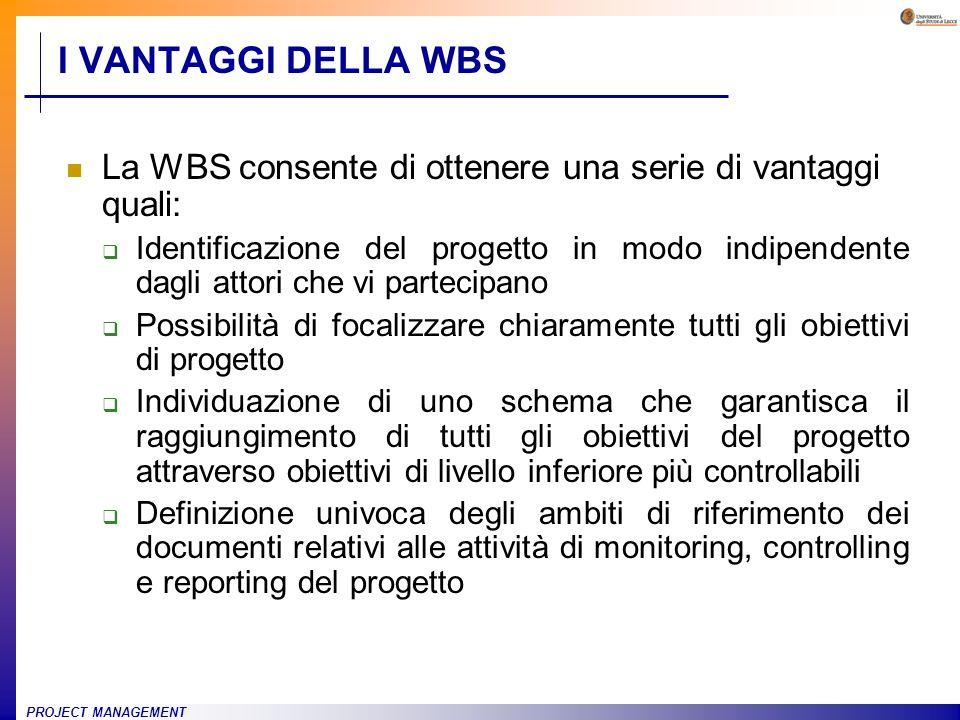 PROJECT MANAGEMENT I VANTAGGI DELLA WBS La WBS consente di ottenere una serie di vantaggi quali: Identificazione del progetto in modo indipendente dag