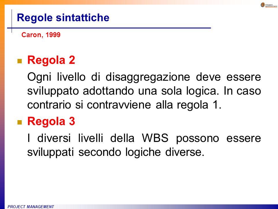 PROJECT MANAGEMENT Regola 2 Ogni livello di disaggregazione deve essere sviluppato adottando una sola logica. In caso contrario si contravviene alla r