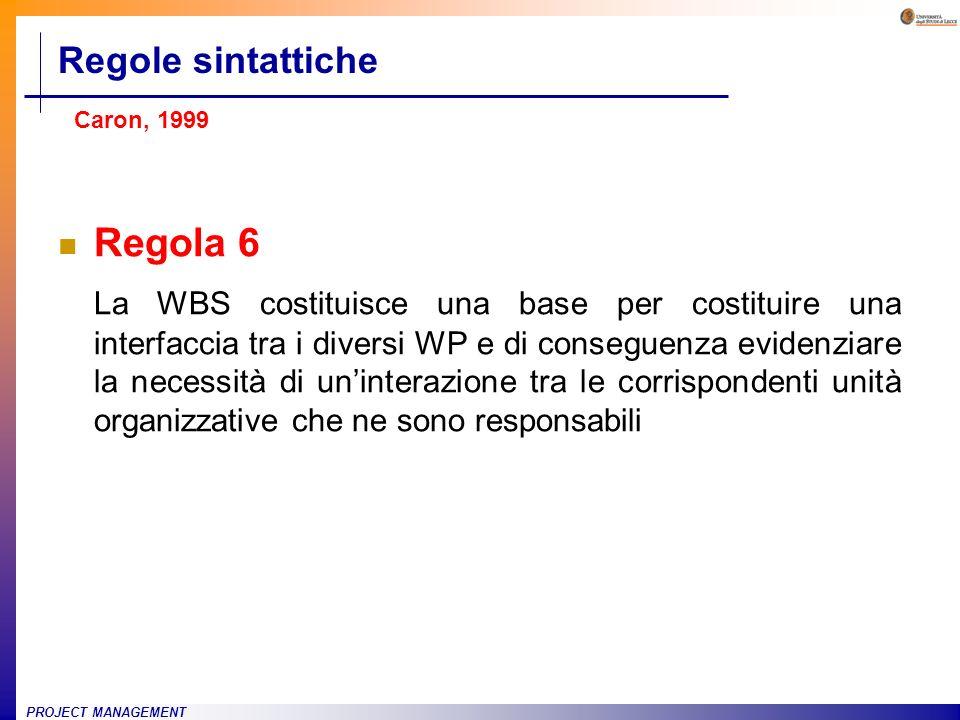 PROJECT MANAGEMENT Regola 6 La WBS costituisce una base per costituire una interfaccia tra i diversi WP e di conseguenza evidenziare la necessità di u