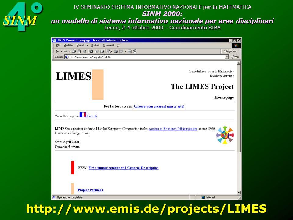 4°SINM IV SEMINARIO SISTEMA INFORMATIVO NAZIONALE per la MATEMATICA SINM 2000: un modello di sistema informativo nazionale per aree disciplinari Lecce, 2-4 ottobre 2000 - Coordinamento SIBA http://www.emis.de/projects/LIMES