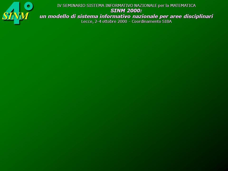 4°SINM IV SEMINARIO SISTEMA INFORMATIVO NAZIONALE per la MATEMATICA SINM 2000: un modello di sistema informativo nazionale per aree disciplinari Lecce, 2-4 ottobre 2000 - Coordinamento SIBA