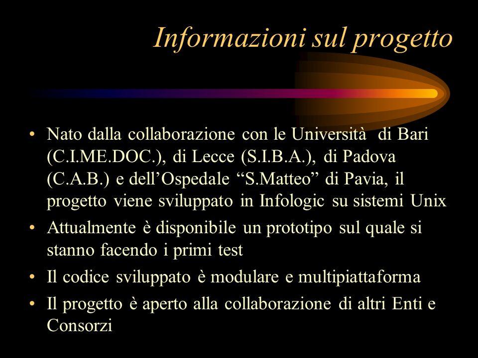Informazioni sul progetto Nato dalla collaborazione con le Università di Bari (C.I.ME.DOC.), di Lecce (S.I.B.A.), di Padova (C.A.B.) e dellOspedale S.Matteo di Pavia, il progetto viene sviluppato in Infologic su sistemi Unix Attualmente è disponibile un prototipo sul quale si stanno facendo i primi test Il codice sviluppato è modulare e multipiattaforma Il progetto è aperto alla collaborazione di altri Enti e Consorzi