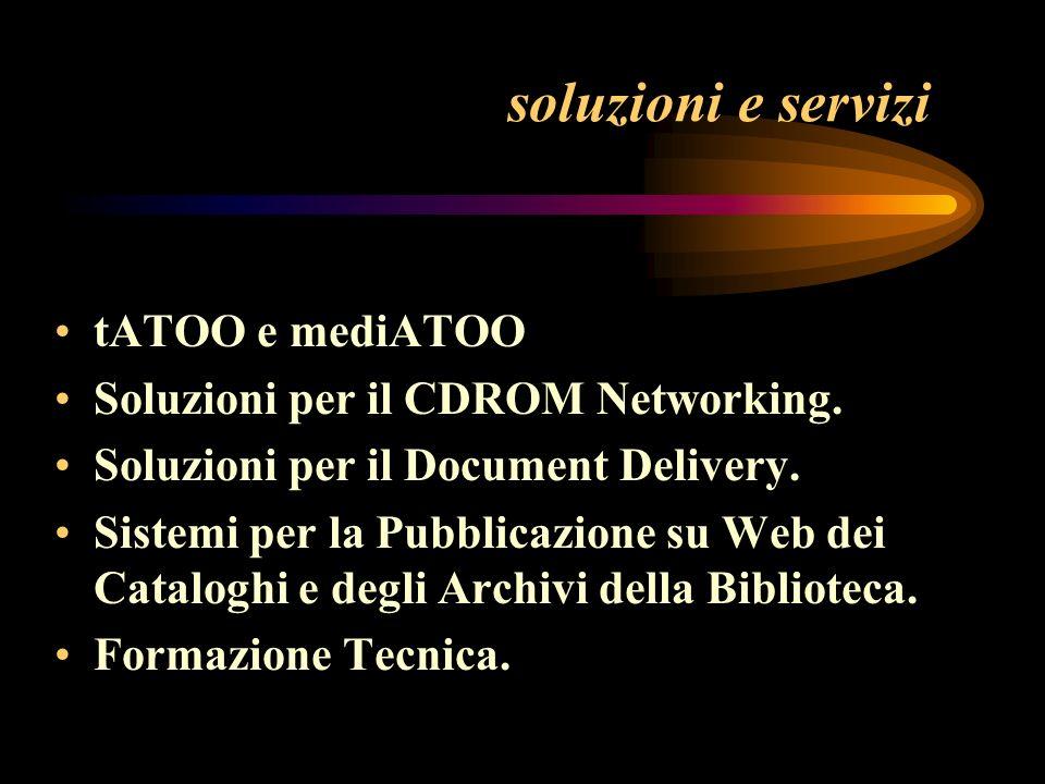 soluzioni e servizi tATOO e mediATOO Soluzioni per il CDROM Networking.