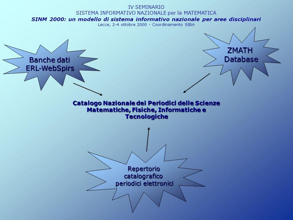 Catalogo Nazionale dei Periodici delle Scienze Matematiche, Fisiche, Informatiche e Tecnologiche IV SEMINARIO SISTEMA INFORMATIVO NAZIONALE per la MAT